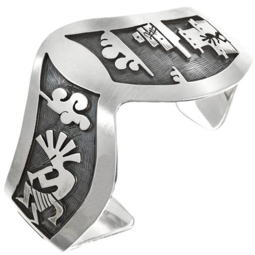 Overlaid Silver Storyteller Bracelet Sterling Kokopelli Cuff 30431