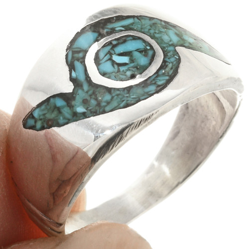 Navajo Inlaid Silver Turquoise Ring 3861