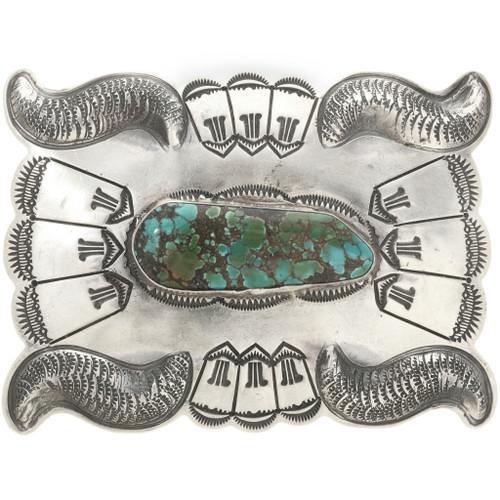 Spiderweb Turquoise Silver Belt Buckle 0017