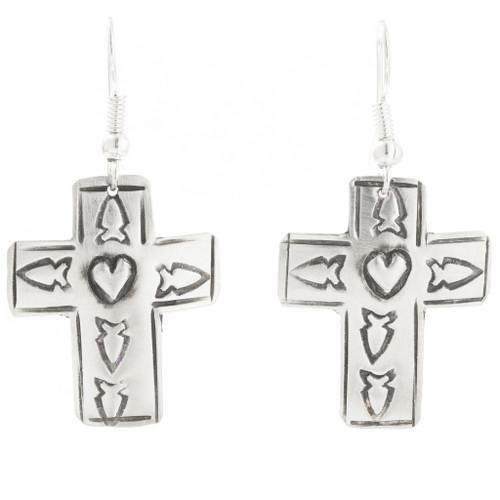 Navajo Tribe Indian Silver Cross Earrings 30515