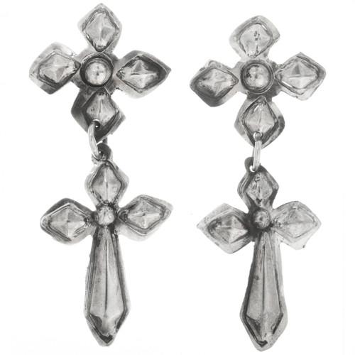 Sterling Silver Cross Earrings 30517