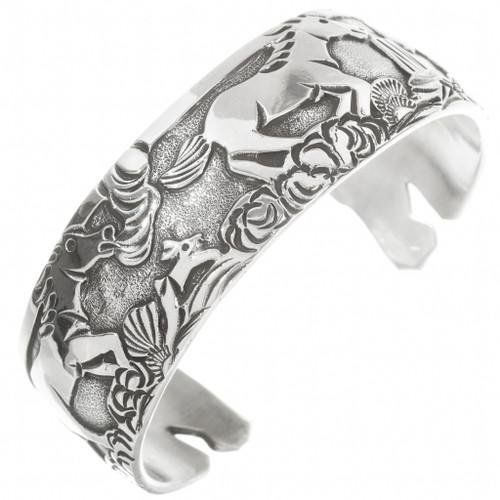 Navajo Sterling Silver Storyteller Bracelet 30526