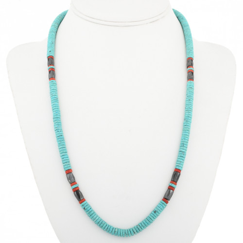 Hematite Coral Navajo Turquoise Necklace 30586