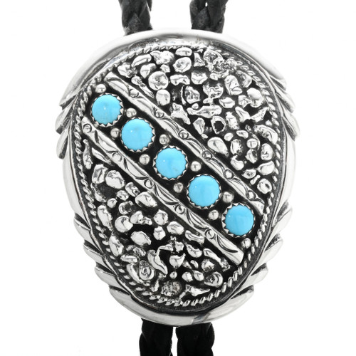 Genuine Turquoise Sterling Silver Bolo Tie 30697