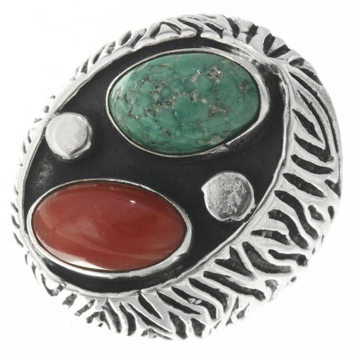 Vintage Turquoise Coral Mens Ring 30655