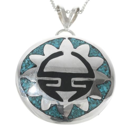 Navajo Inlaid Silver Turquoise Pendant 30755