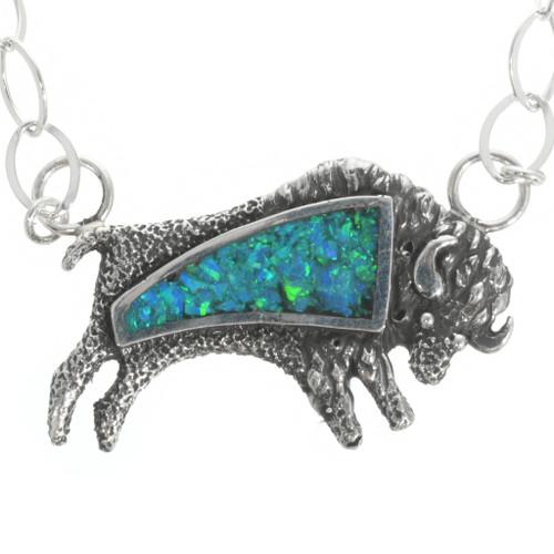 Navajo Inlaid Opal Buffalo Pendant 30780