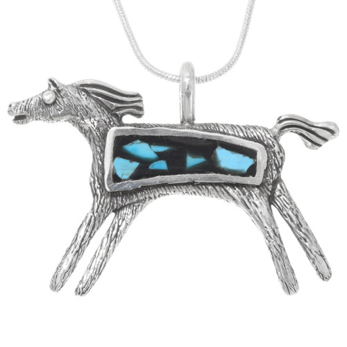 Native American Silver Turquoise Horse Necklace 30783