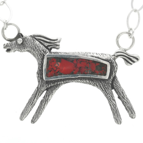 Red Coral Horse Pendant 30790