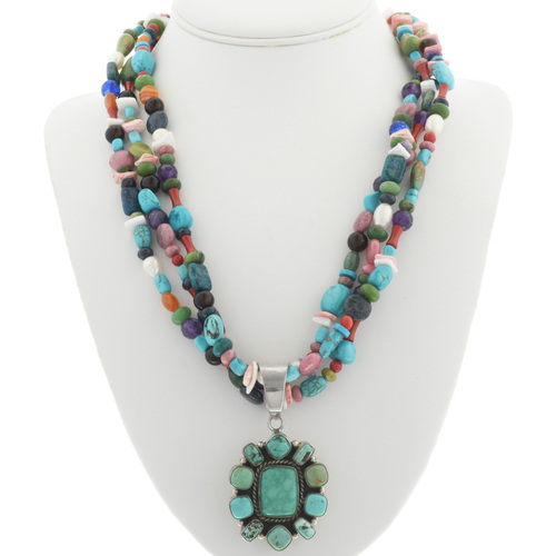 Native America Turquoise Cluster Pendant 30924
