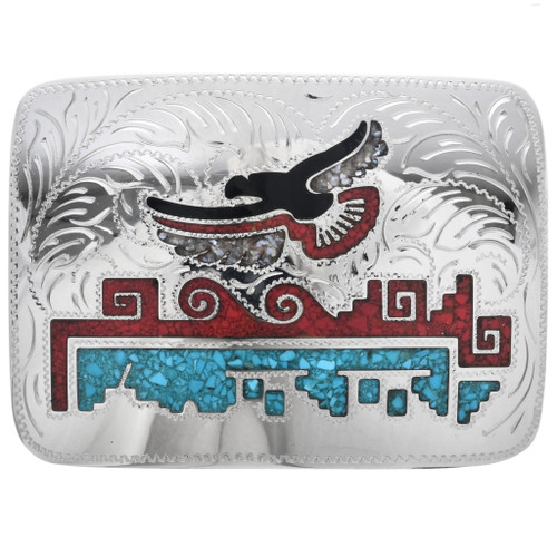 Turquoise Silver Eagle Belt Buckle 30994