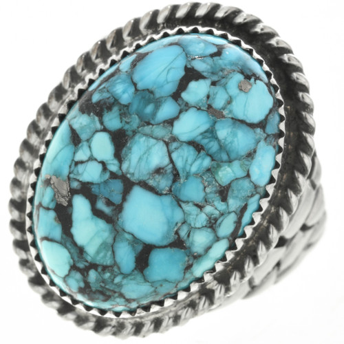 Navajo Turquoise Silver Mens Ring 30935