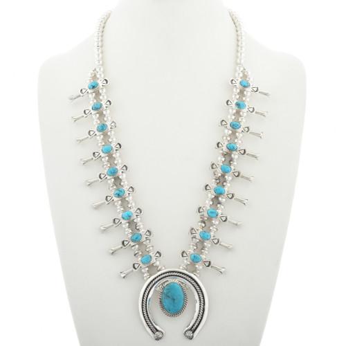 Navajo Turquoise Squash Blossom Necklace 30936