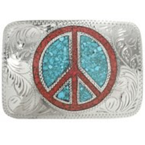 Small Peace Sign Belt Buckle 30953