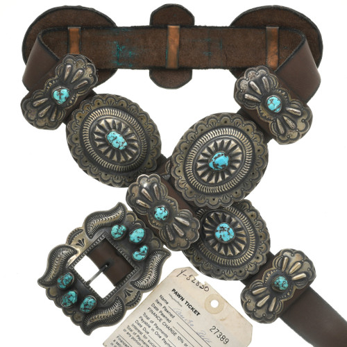 Old Pawn Turquoise Silver Concho Belt 30996