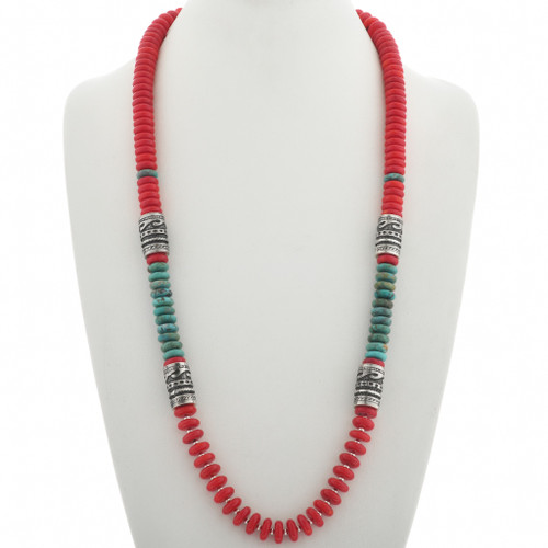 Turquoise Coral Bead Necklace 31032