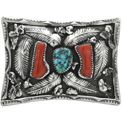 Navajo Red Coral Belt Buckle 31105