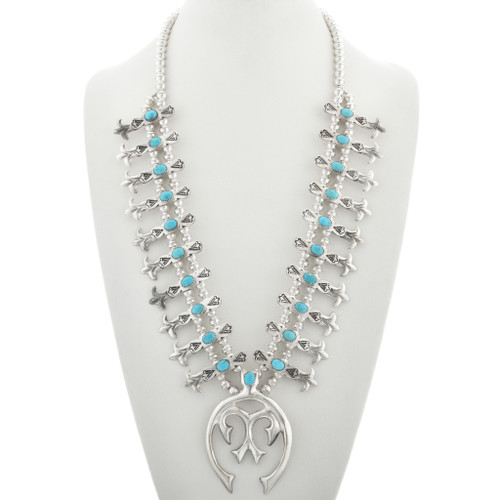 Turquoise Silver Squash Blossom Necklace 31118