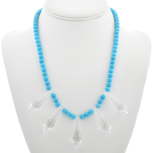 Navajo Turquoise Crystal Beaded Necklace 31127