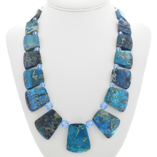 Chunky Blue Jasper Bead Necklace 31152