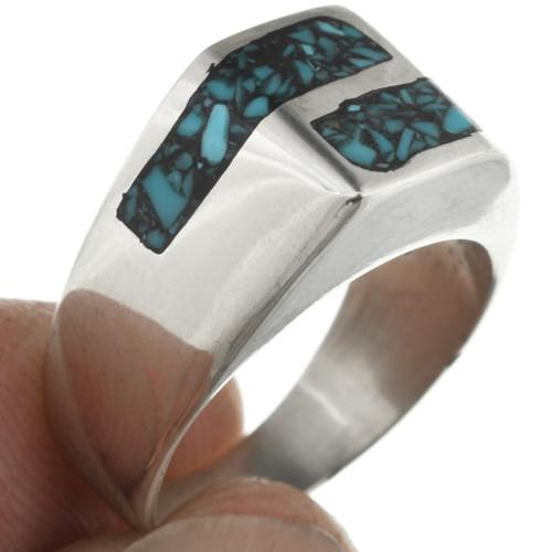 Navajo Inlaid Turquoise Ring 31215