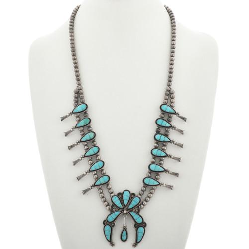 Vintage Zuni Turquoise Squash Blossom Necklace 31220