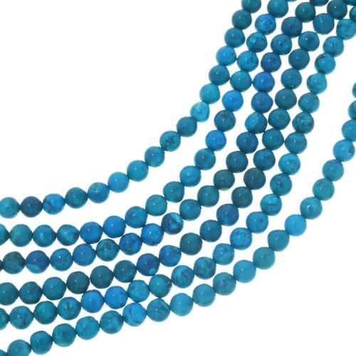 Round Bright Blue Turquoise Magnesite Beads 30847