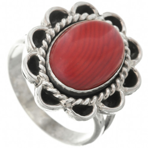 Southwest Red Coral Ring 31305