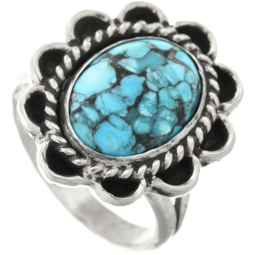 Spiderweb Turquoise Silver Ladies Ring 31306
