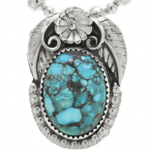 Spiderweb Turquoise Silver Ladies Pendant 31309