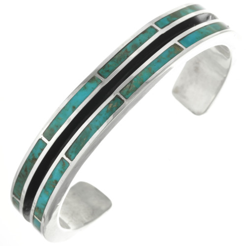 Navajo Turquoise Inlay Silver Cuff Bracelet 31354