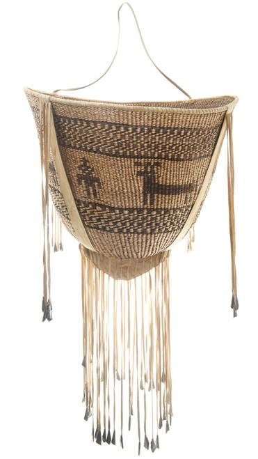 Large Hand Woven Figural Apache Burden Basket 30569