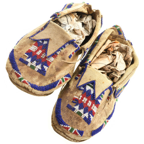 Vintage Plains Indian Beaded Leather Moccasins 31508