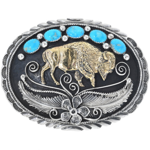 Navajo Turquoise Gold Buffalo Belt Buckle 31436