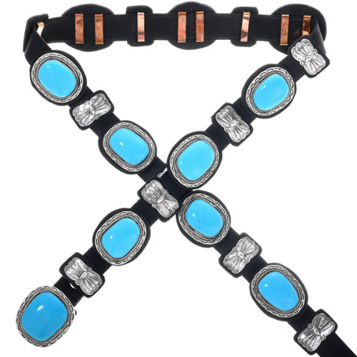 Blue Turquoise Silver Concho Belt 31447