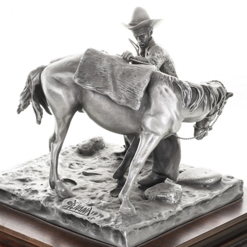 Cowboy Horse Saddling Sculpture 31454