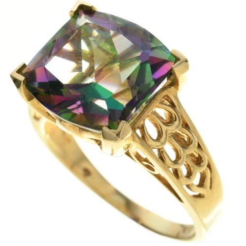 Vintage Mystic Fire Topaz 10K Gold Ring 31489