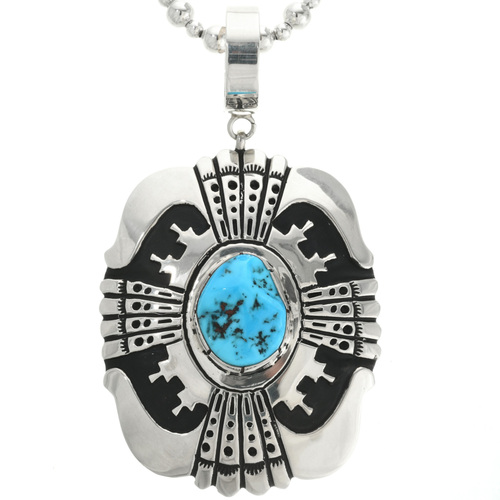 Navajo Overlaid Silver Turquoise Pendant 31611