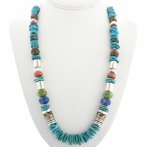 Turquoise Gold Silver Necklace With Overlaid Barrels 31638