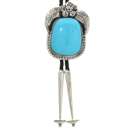 Blue Turquoise Silver Bolo Tie 31656