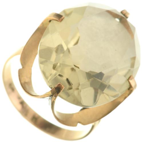 Vintage Lemon Quartz 14K Gold Ladies Ring