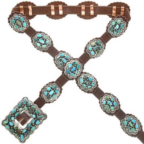 Navajo Turquoise Cluster Concho Belt