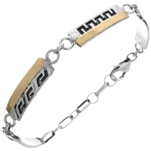 Gold Overlaid Silver Tennis Navajo Bracelet Hopi Style Design