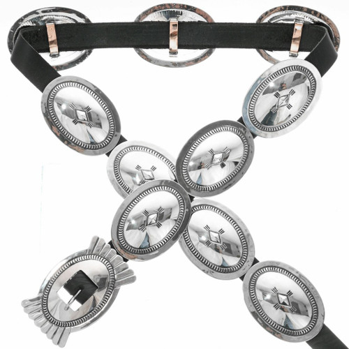 Old Pawn Sterling Silver Concho Belt 31696
