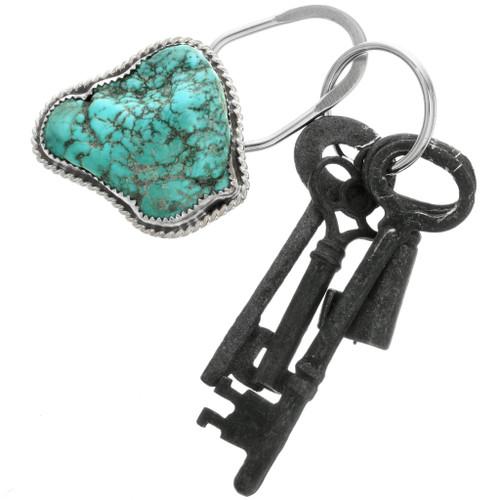 Large Turquoise Magnesite Silver Key Ring 31700