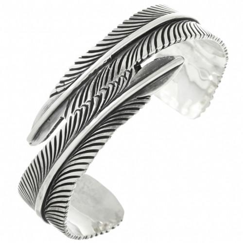 Native American Silver Feather Bracelet 31741