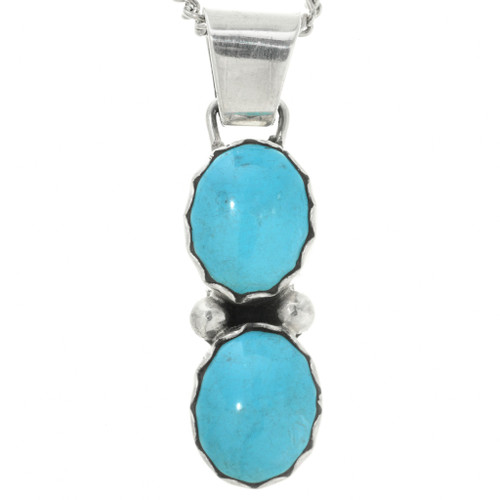 Blue Turquoise Silver Pendant 31747