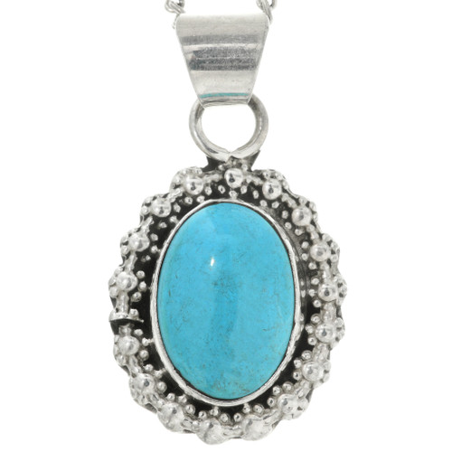 Navajo Made Silver Turquoise Pendant 31752