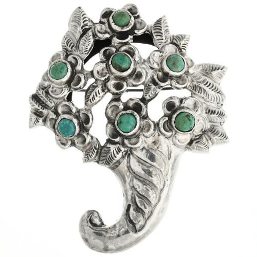 Vintage Turquoise Cornucopia Pin 31776