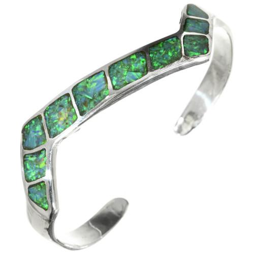 Green Opal Silver Navajo Bracelet 31802
